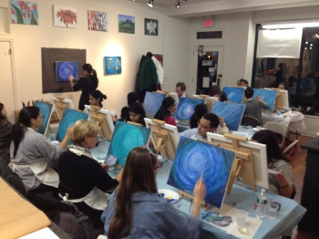 The art class painting away!