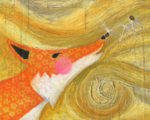 Orange Fox Collage with Milkweed Seeds