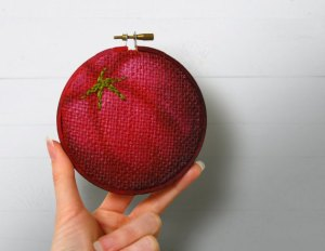 Tomato Embroidery, Kitchen Wall Art